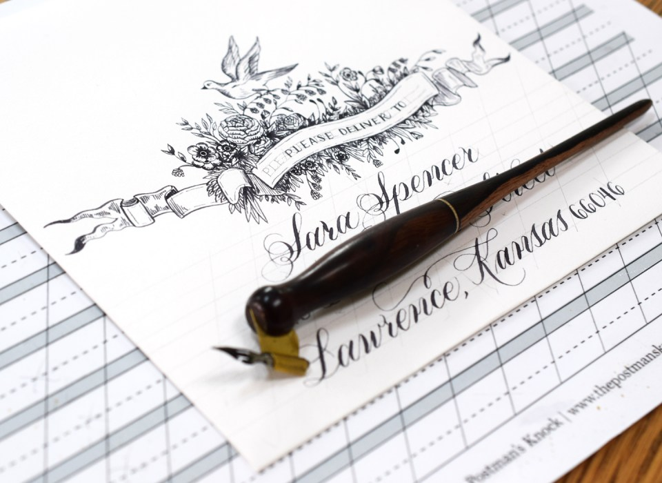 Pointed pen calligraphy on mail art
