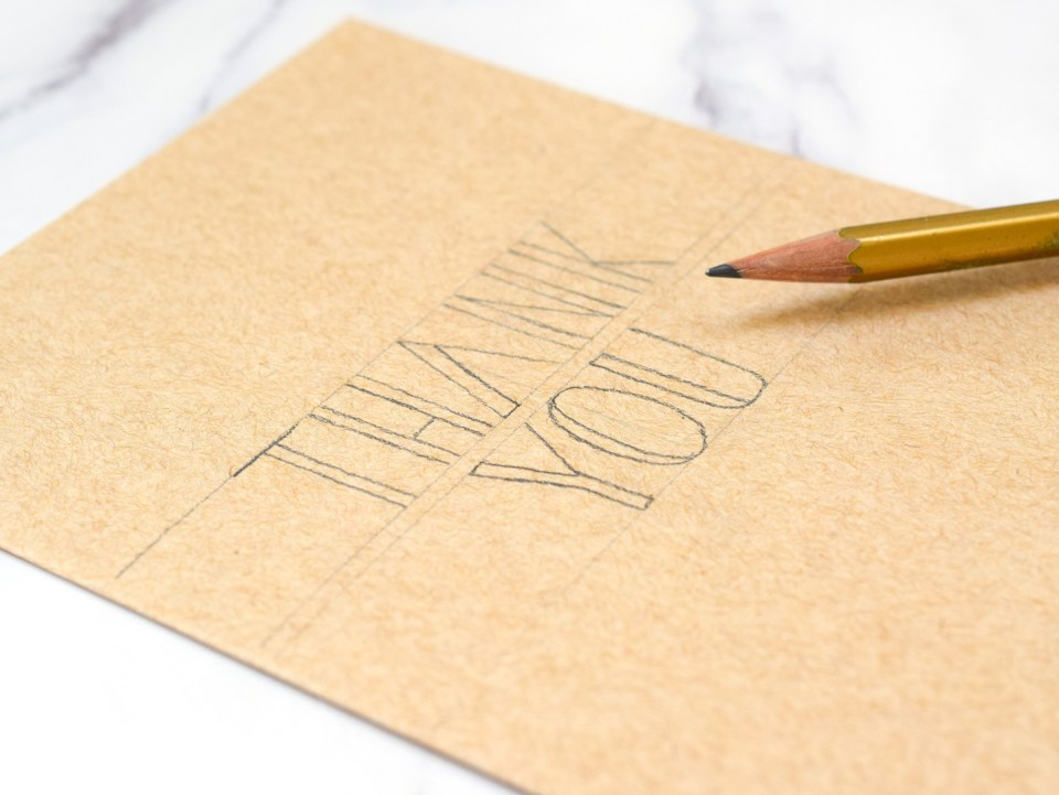 Making a thank you card pencil draft