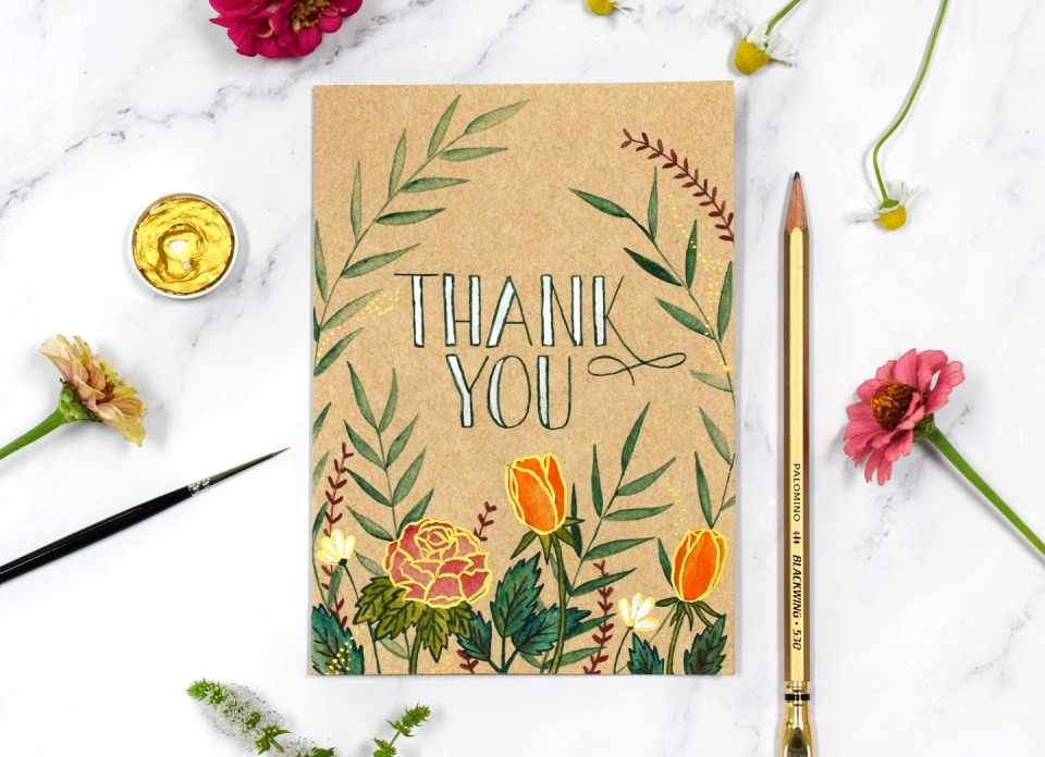 Luminous Watercolor Florals Kraft Card Tutorial