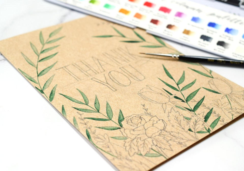 Adding Watercolor to the Floral Kraft Greeting Card