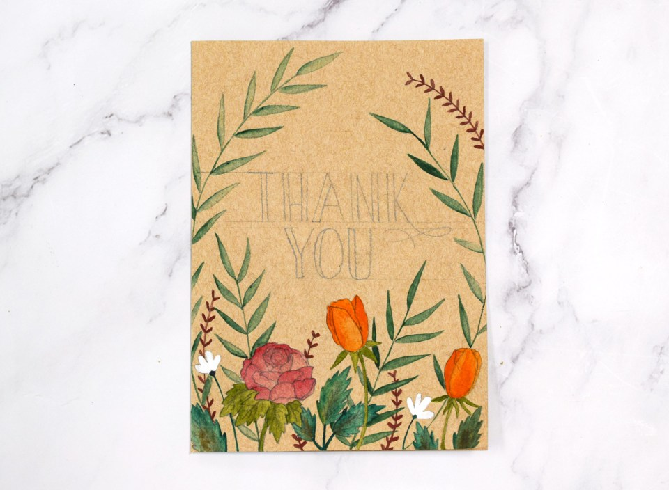 Adding color to the watercolor floral thank you card