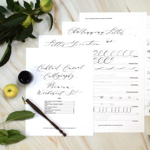 This premium worksheet set will teach you how to write in a bohemian, artistic calligraphy style.