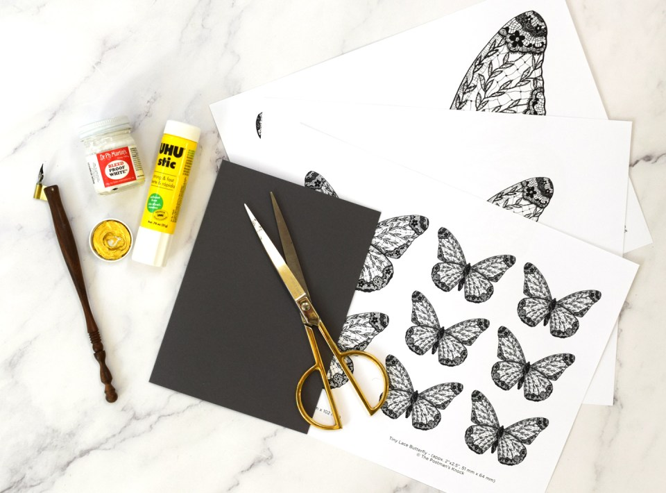 Supplies for a fold out butterfly card