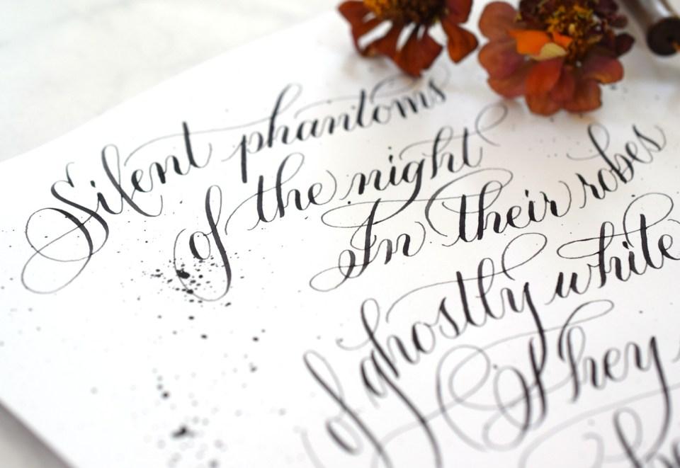 "Free ""Silent Phantoms"" Halloween Calligraphy Worksheet"