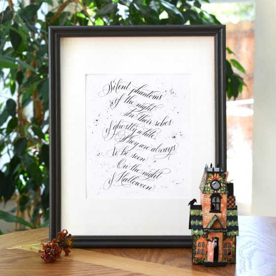 """The """"Silent Phantoms"""" worksheet will walk you through how to write this seasonal flourished quote."""