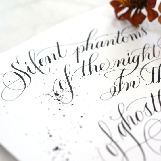 Iron gall ink is especially suited to Halloween calligraphy because of its timeless/antique look!