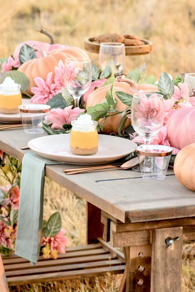 pink pumpkin tablescape - fall baby shower ideas