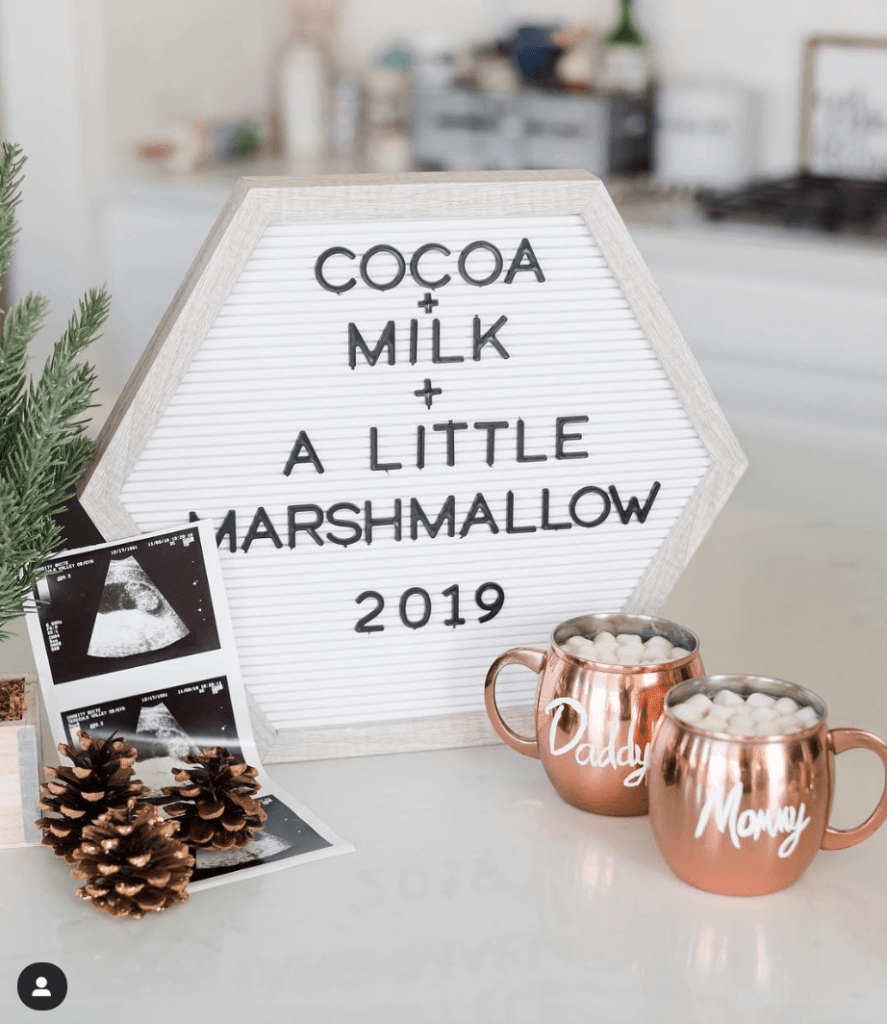 Christmas announcing pregnancy with hot cocoa