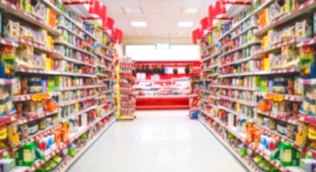 grocery store shelves - What to stock up on before baby