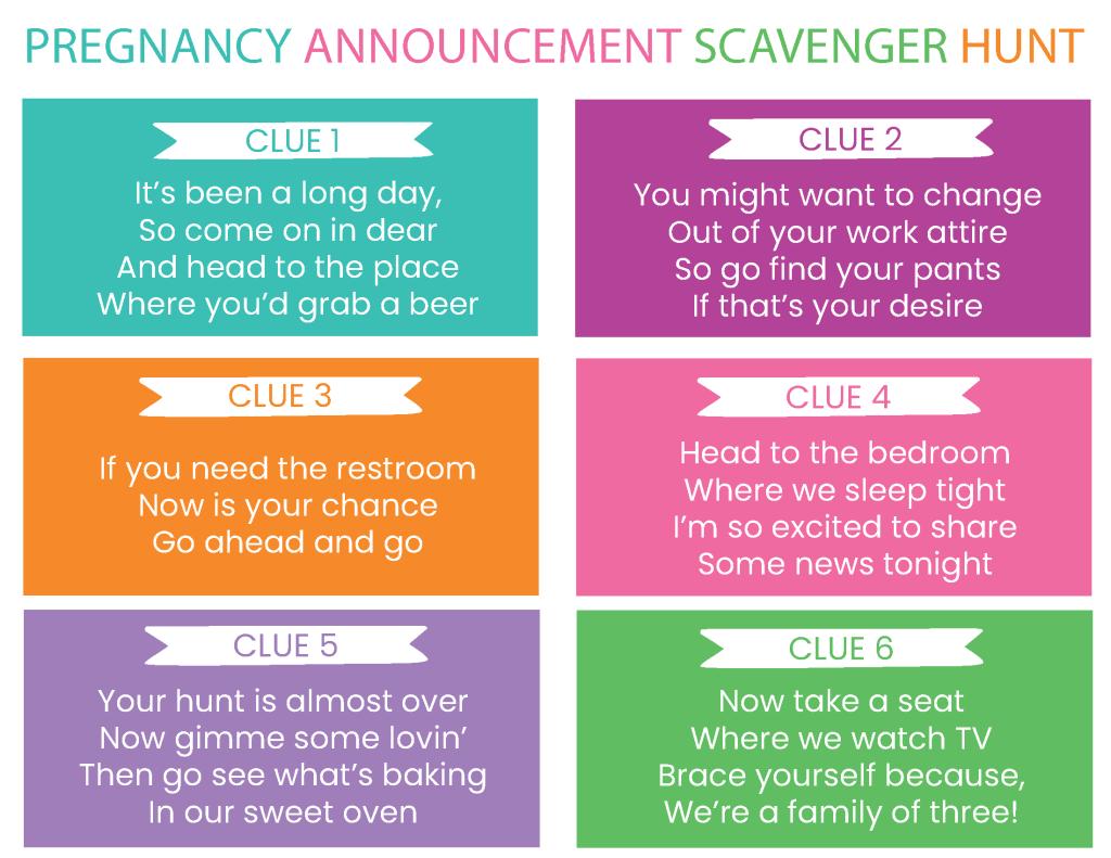 pregnancy announcement scavenger hunt