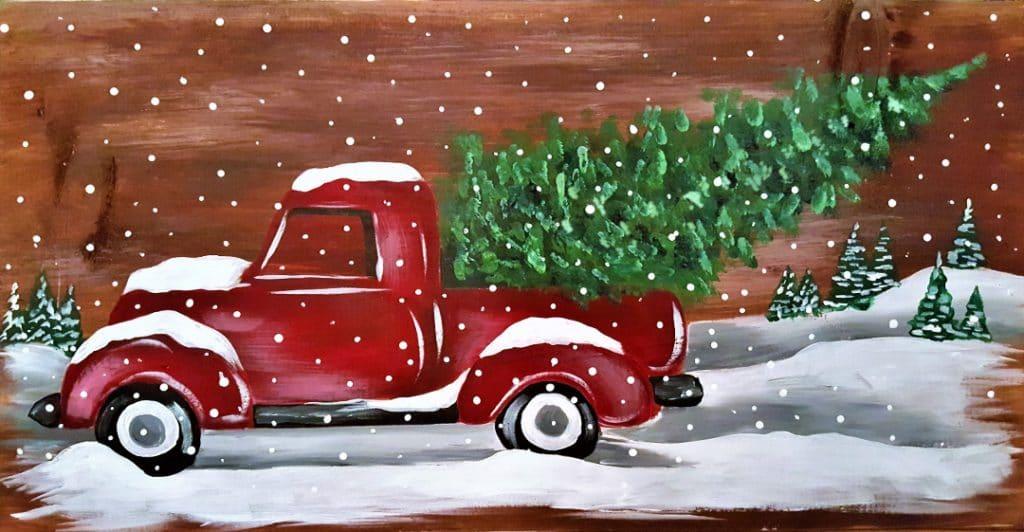 Board Art Vintage Christmas Truck Pottery Factory