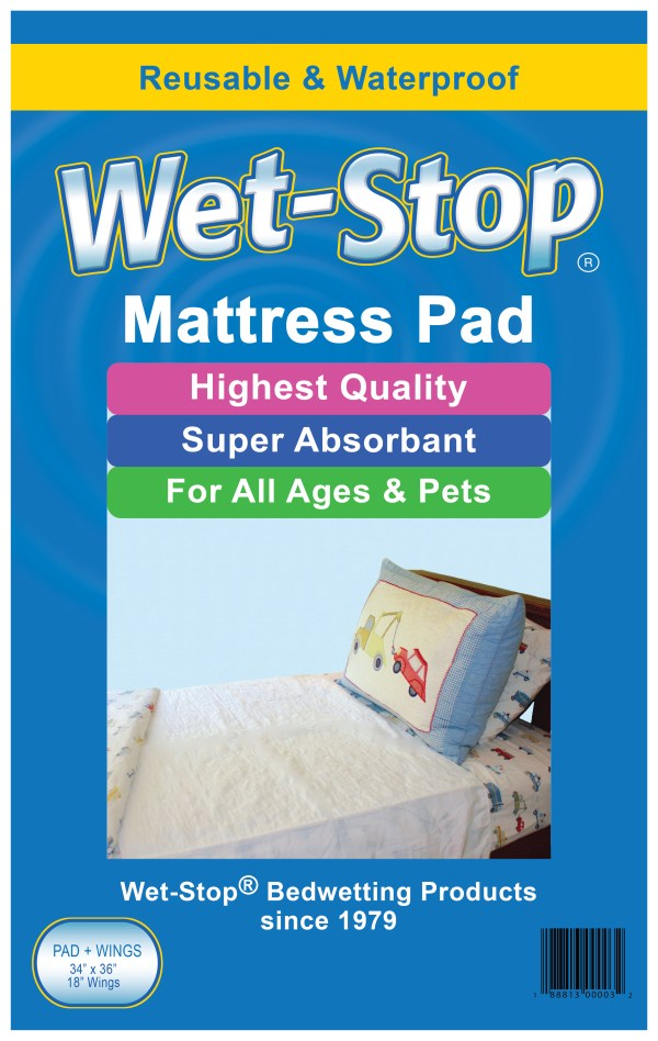 "Wet-Stop 34"" x 36"" waterproof, washable mattress pad with two 18"" wings to tuck in."