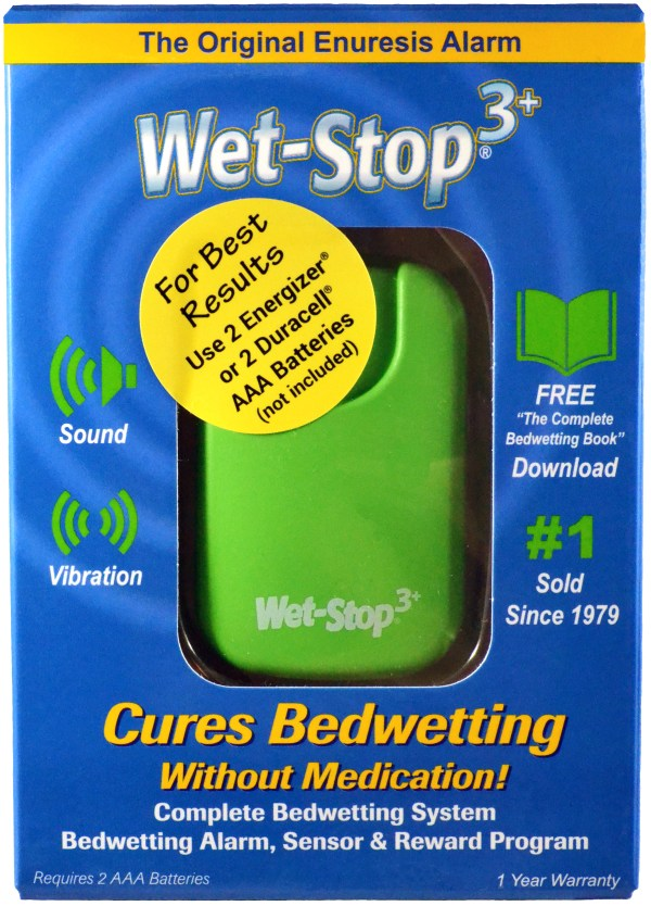 Green Wet-Stop 3+ in box; bedwetting alarm cures bedwetting.