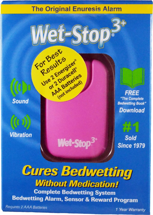 Pink Wet-Stop 3+ in box; bedwetting alarm cures bedwetting.