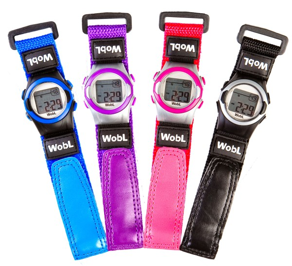 WobL vibrating alarm reminder watch is available in four colors; for potty training, medication reminders, meeting reminders, and more.