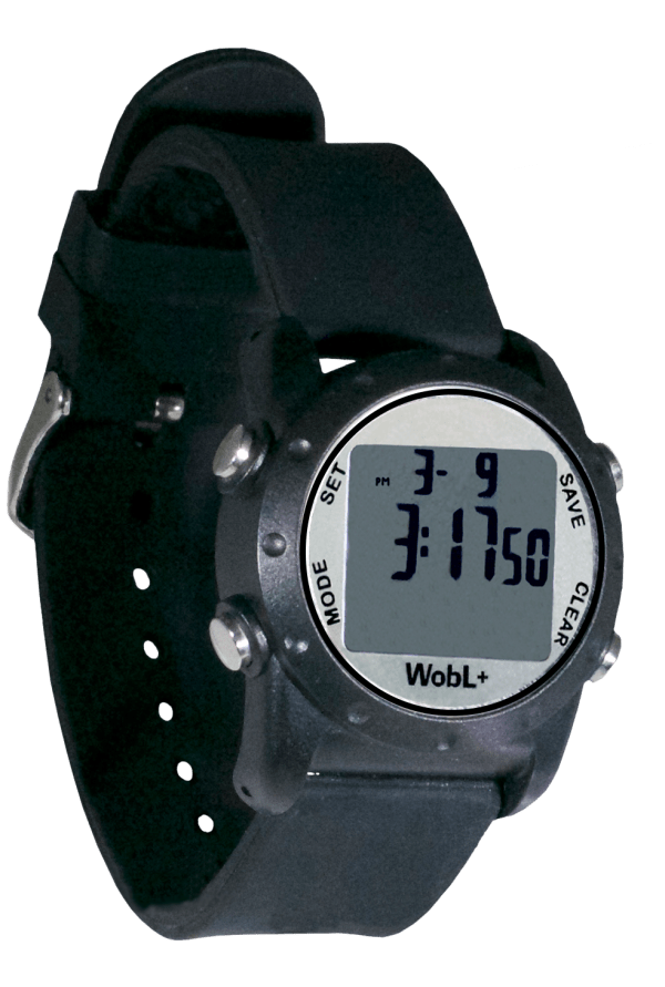Black waterproof WobL+ vibrating alarm watch with 9 alarms & repeating countdown timer for potty training, medication, and meeting reminders.
