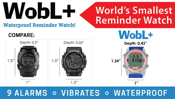 The WobL+ waterproof alarm watch is the smallest available in the marketplace.