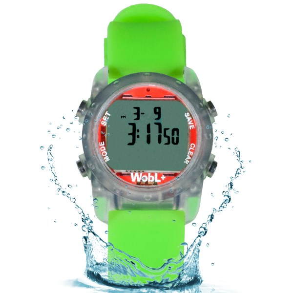 Green waterproof WobL+ vibrating alarm watch with 9 alarms & repeating countdown timer for potty training, medication, and meeting reminders.