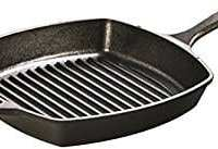 Lodge 10.5 Inch Square Cast Iron Grill Pan. Pre-seasoned Grill Pan