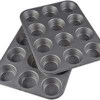 AmazonBasics Nonstick Carbon Steel Muffin Pan, Set of 2, 12 Cups Each
