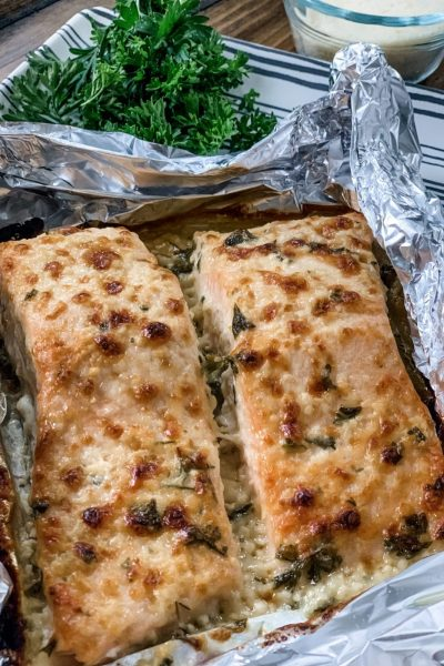 Garlic Parmesan Salmon in Foil