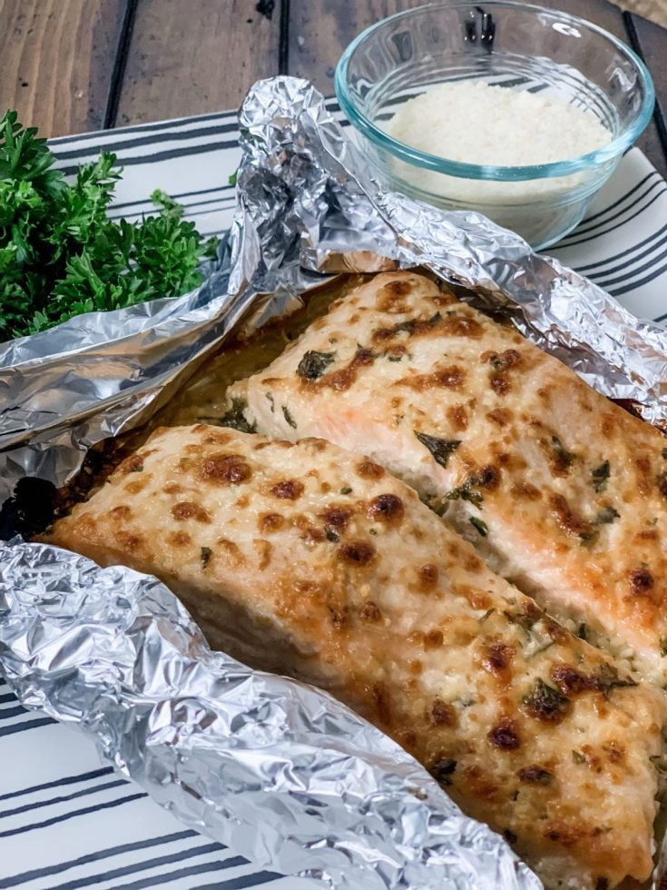 Garlic Parmesan Salmon in Foil