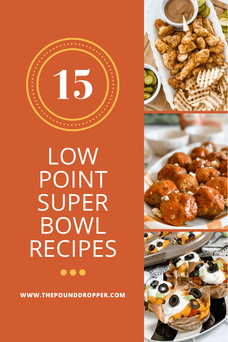 Whether you're watching the Super Bowl or just there for the food, these Low Point Super Bowl Recipes are sure to satisfy your game day cravings without jeopardizing your goals! via @pounddropper