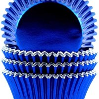 Foil Metallic Cupcake Liners Standard Baking Cups 100 Pcs (Navy Blue)