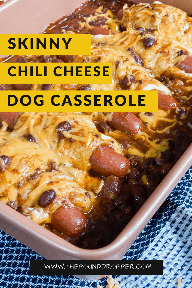This Skinny Chili Cheese Dog Casserole is super easy to make and requires just 5 ingredients! This casserole combines two comfort food favorites-chili and hotdogs! It's sure to be a family favorite! via @pounddropper