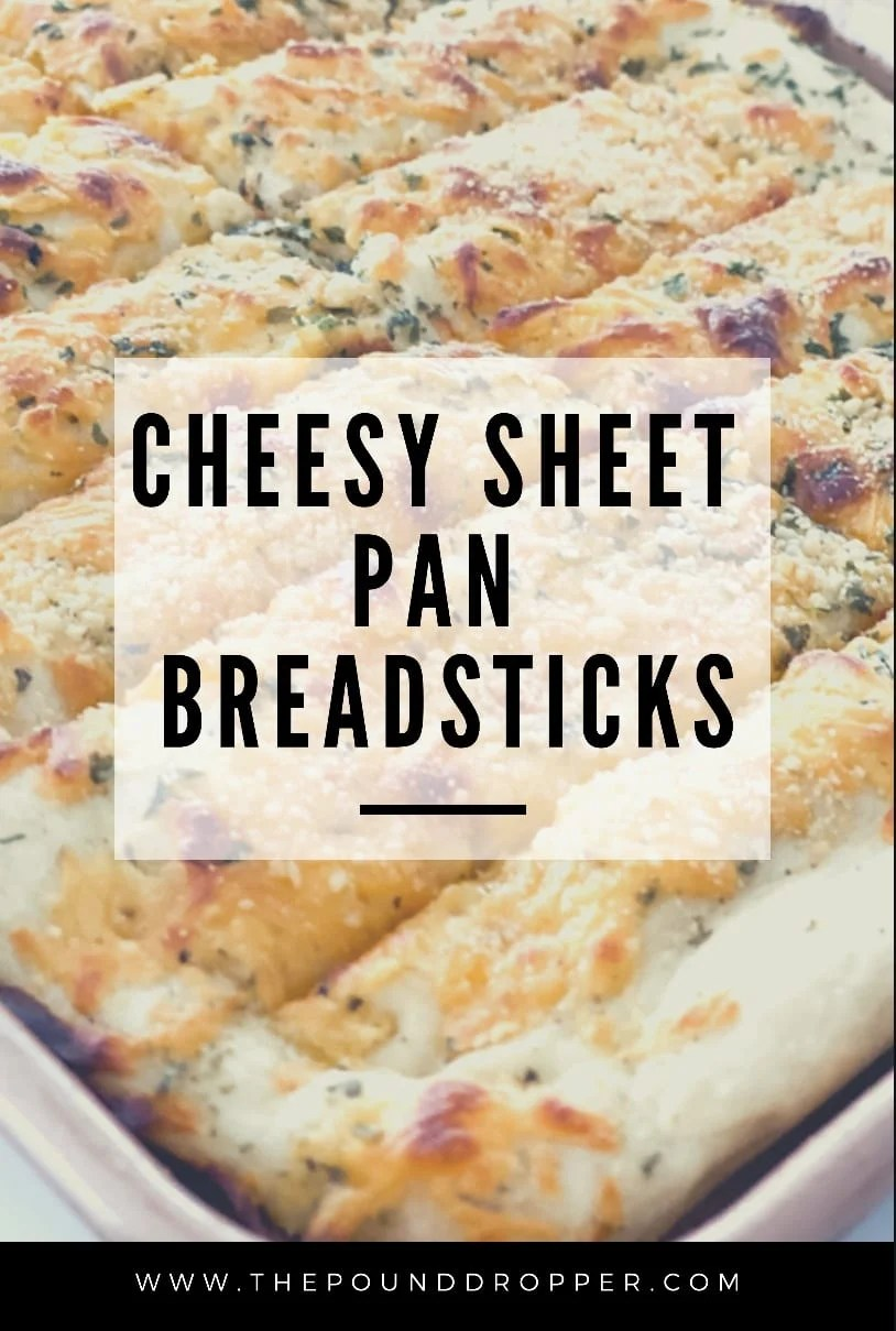 These Cheesy Sheet Pan Breadsticks are cheesy, buttery, and perfectly seasoned! They are simple to make and are a perfect side dish to any meal! via @pounddropper