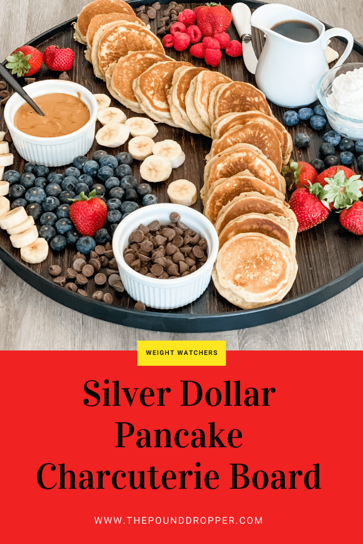 This Silver Dollar Pancake Charcuterie Boardmakes for an easy and creative way to serve your favorite pancake breakfast! Perfect for the Holidays or Brunch on a weekend morning! via @pounddropper