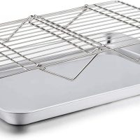 Baking Sheet with Rack Set, Cookie Sheet Baking Pan & Cooling Baking Roasting Stackable Rack