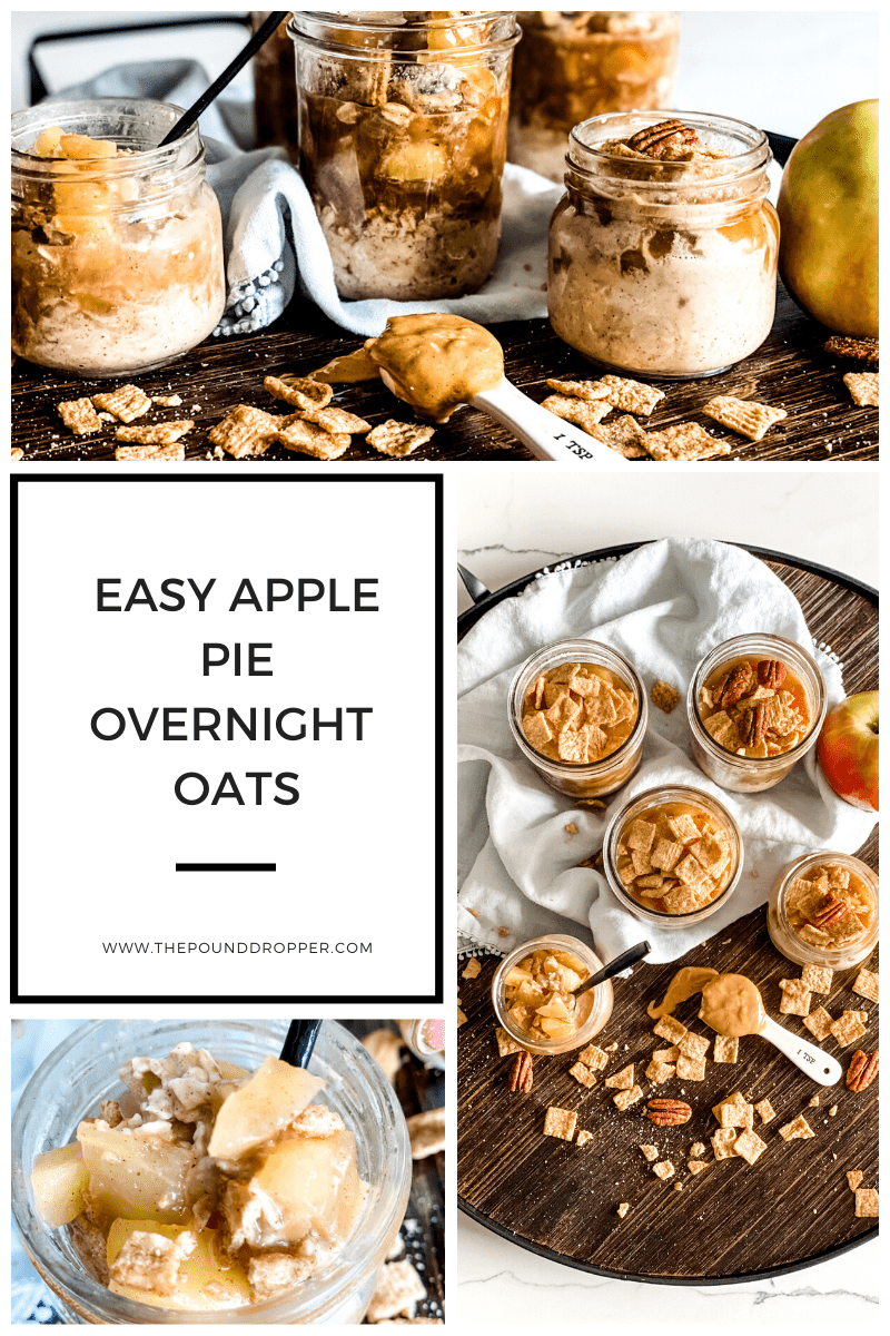 These Easy Apple Pie Overnight Oats are packed with a homemade cinnamon apple filling, oats and nut butter-and makes for the best quick and easy, make-ahead breakfast! via @pounddropper