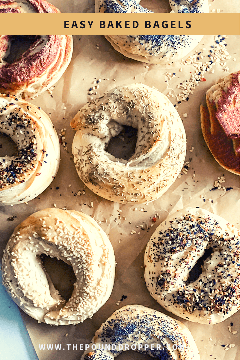These Easy Baked Bagels are made with my Quick and Easy Weight Watchers Dough recipe- which is the absolute BEST! Top the bagels with sesame seeds, poppy seeds, rosemary, jalapeños, shredded cheese, cinnamon sugar, or everything but the bagel seasoning-perfect for meal prep or on-the-go breakfast! via @pounddropper