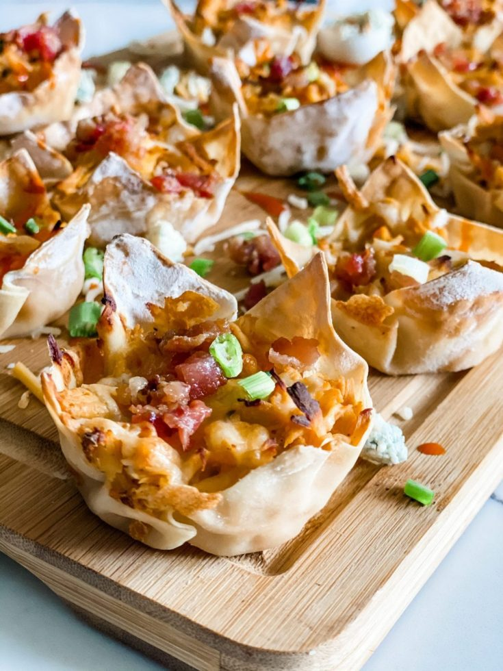 Easy Low Point Buffalo Chicken Wonton Cups