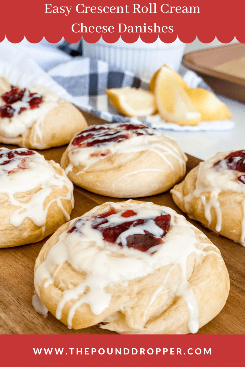 These Easy Crescent Roll Cream Cheese Danishes are made easy-usingCrescent rolls, reduced fat cream cheese, sugar free fruit preserves,and then drizzled with icing!!These make for an easy anddelicious breakfast, snack, or dessert! via @pounddropper