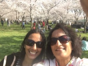 The superheroine and I visiting the cherry blossoms in the District of Columbia