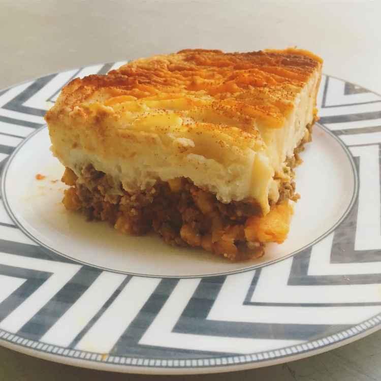 a piece of shepherd's pie on a plate