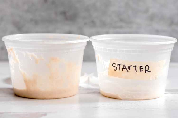 two 16 oz deli containers sit side by side. the one on the left has about half an inch of mature sourdough starter in it. the one on the right has about an eighth of an inch of starter, which has just been fed and has yet to rise at all.