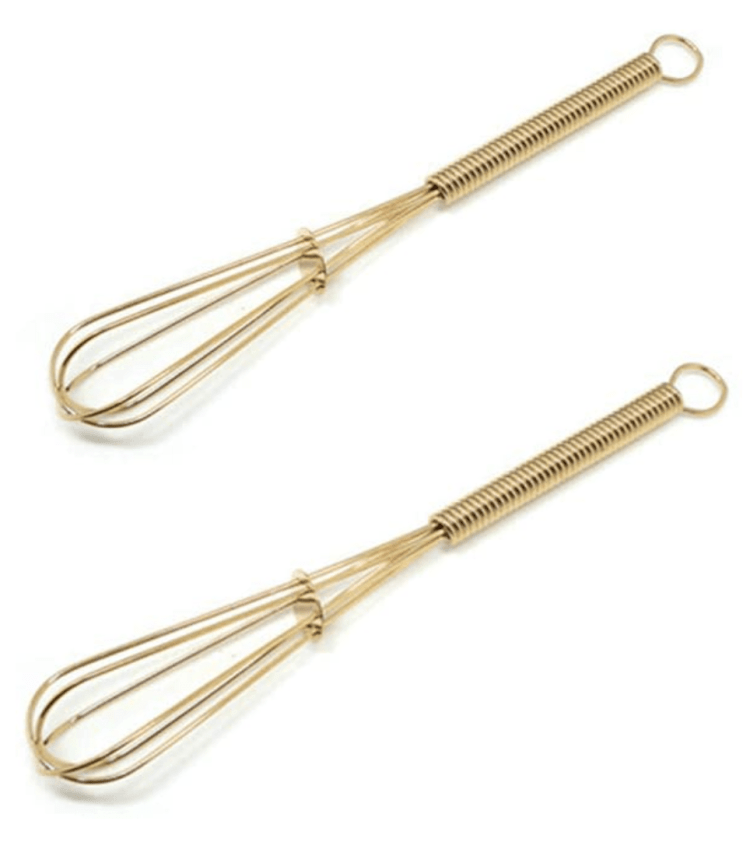 set of two mini gold whisks