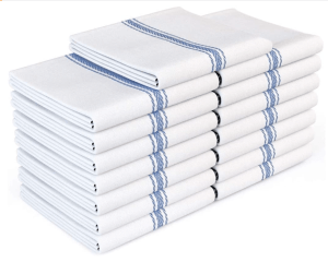 zeppoli kitchen towels with a blue stripe