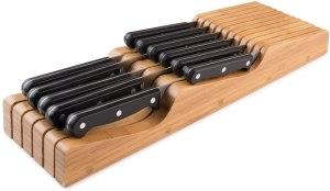 in drawer bamboo knife holder