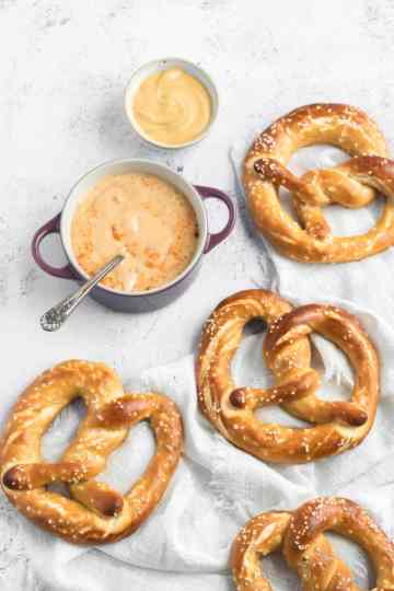 sourdough beer pretzels with beer cheese dip and mustard