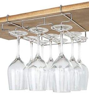 under the shelf wine glass rack