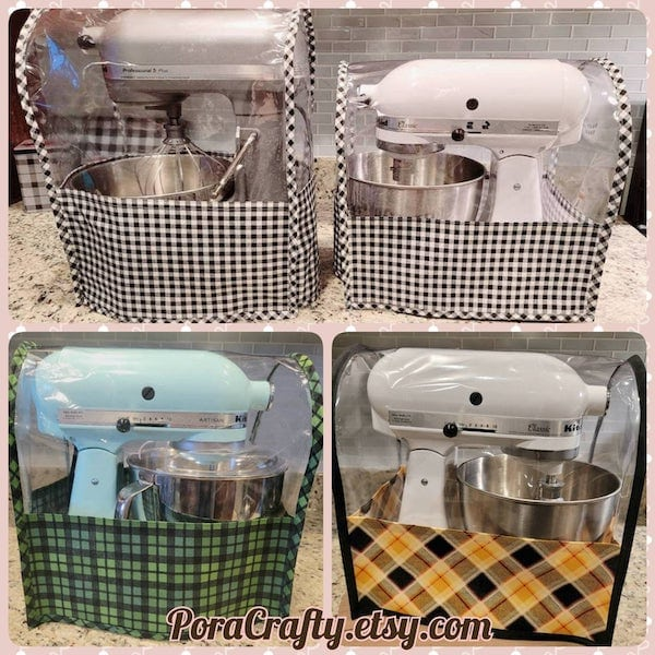 four pictures of kitchenaid mixers under plastic covers with plaid fabric around the bottoms