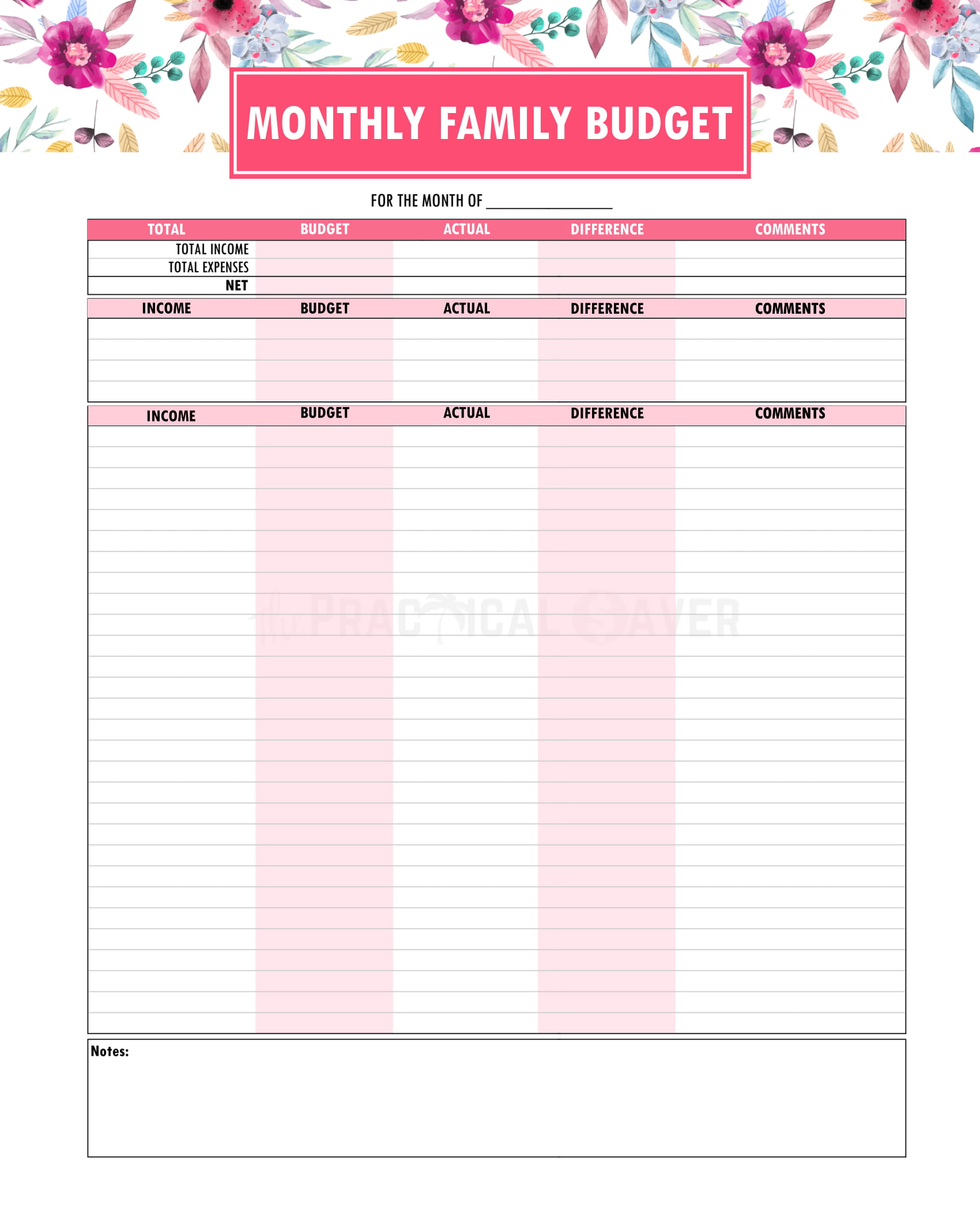 Monthly Family Budget Printable