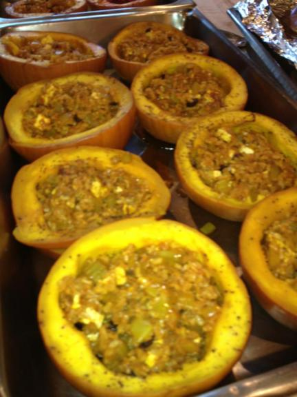 Savory Vegetarian Brown Rice Stuffed Pumpkin with Afghanistan Spices