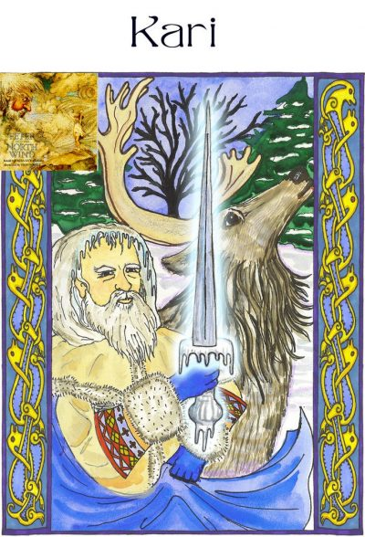 "Kari also shows up in the ancient Norse culture as the god of the north wind, snow, frost, blizzards, and storms. If you do not resist his energy, he teaches you how to ""go with the flow"" and adapt to change."