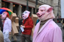 Protestors satirized government figures as greedy pigs in a costume parade. The Czech government is one of the worst European countries for sleaze and scandal, according to the global anti-corruption watchdog, Transparency International.