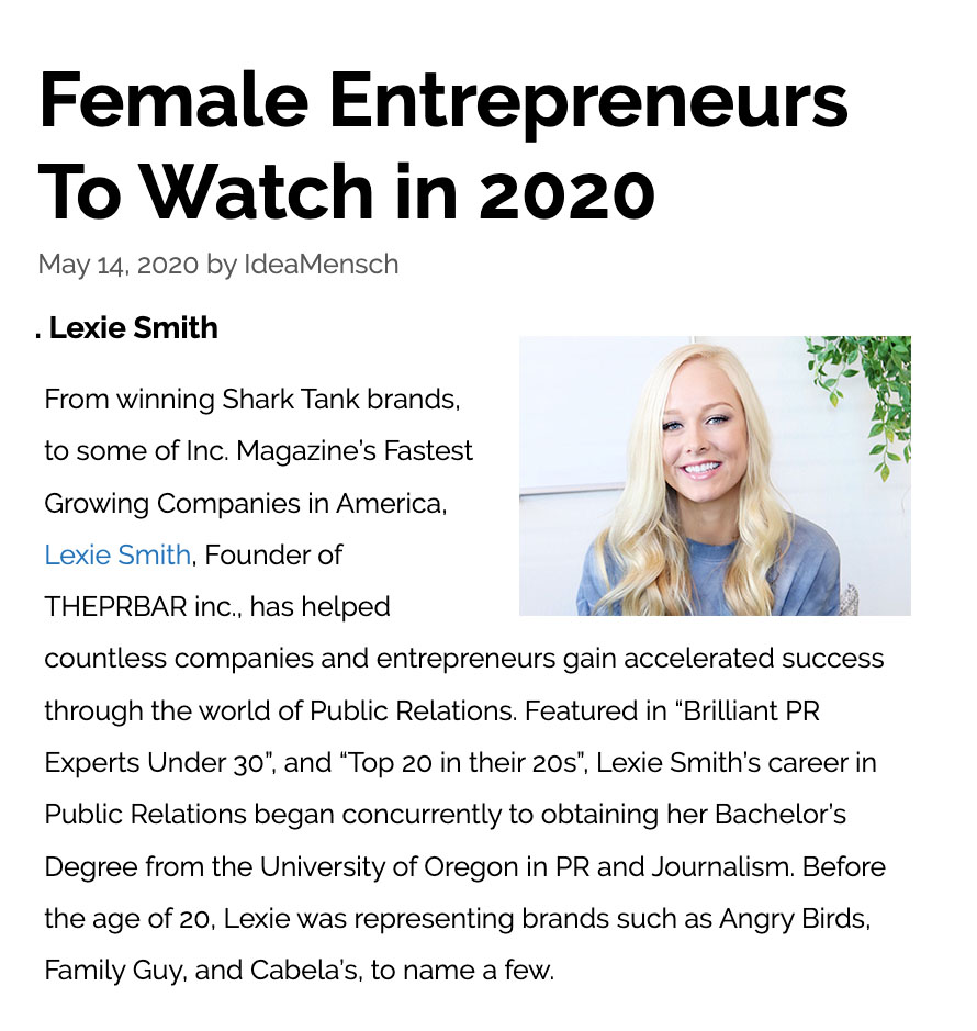 lexie smith - female entreprenneurs to watch in 2020